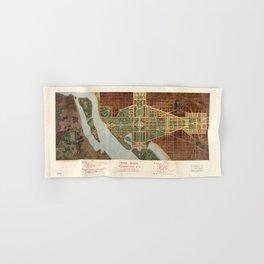 The Mall, Washington D.C. Map (1915) Hand & Bath Towel