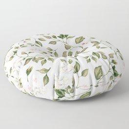 Pink And White Flower Garden Floor Pillow