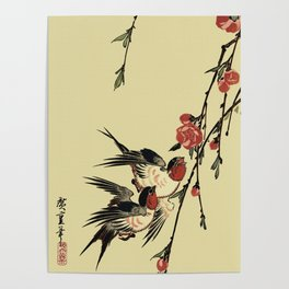 Moon Swallows and Peach Blossoms Poster