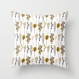 Leaf Seedpod Branch Vector Pattern, Drawn Seamless Background Throw Pillow