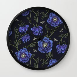 Midnight Hellebore Wall Clock