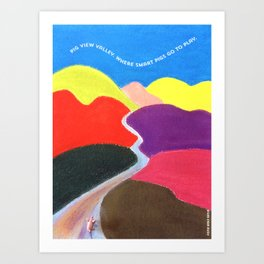 Pig View Valley, Where Happy Pigs Go to Play! Fun & Calming Comforter. Art Print