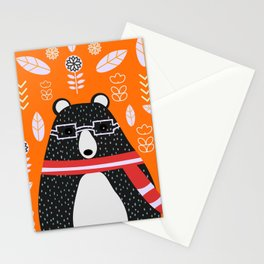 Bear in floral rain Stationery Cards