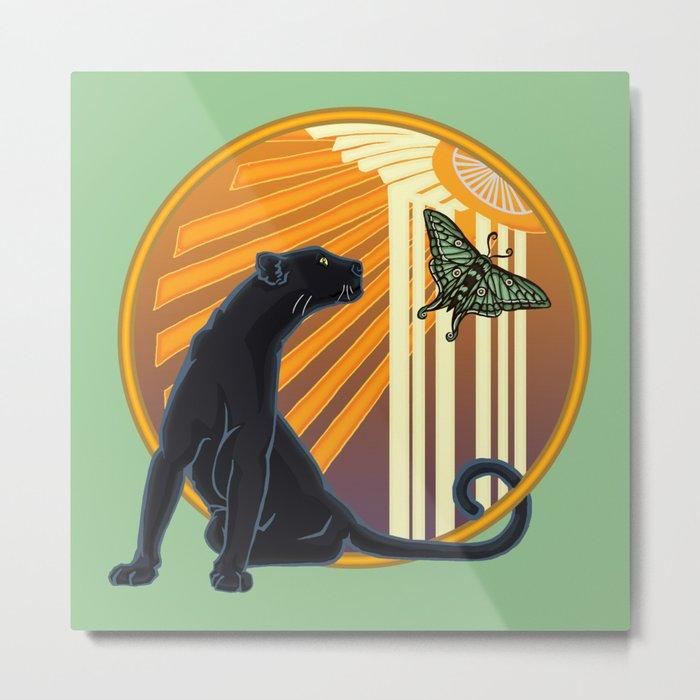Jaguar Plain Art Deco Metal Print