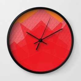 Colorful Red Abstract Mountain Wall Clock