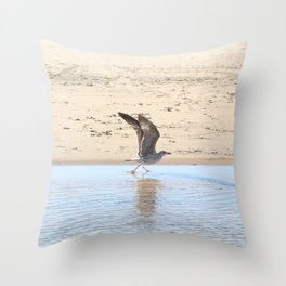 Seagull bird taking off Throw Pillow