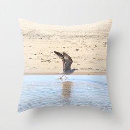 Seagull bird taking off Throw Pillow