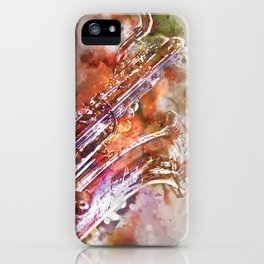 Sax watercolor iPhone Case