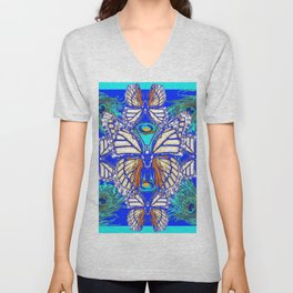 TURQUOISE & CREAM COLORED BUTTERFLIES  BLUE PEACOCK ART Unisex V-Neck