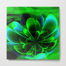 Abstract Green Flower Metal Print