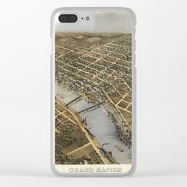 Aerial View of Grand Rapids, Michigan (1868) Clear iPhone Case