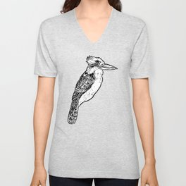 Black and White Kookaburra Illustration Unisex V-Neck