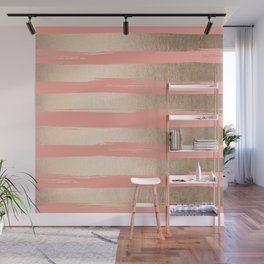 Painted Stripes Tahitian Gold on Coral Pink Wall Mural