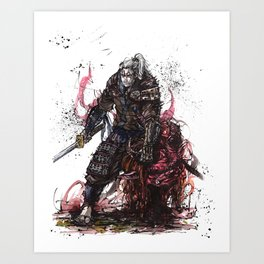 Geralt of Rivia Witcher Samurai Tribute Art Print