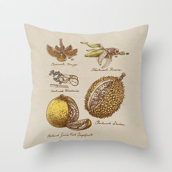 Steampunk Fruit  Throw Pillow