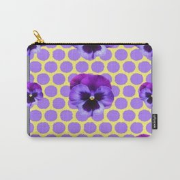PURPLE SPRING PANSIES  LILAC POLKA DOT  PATTERN Carry-All Pouch