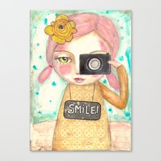 Smile ! girl with photo camera Canvas Print