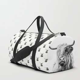 portrait of a highland cow Duffle Bag