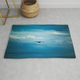 Sky Clouds Solitary Seagull Bird Flying Rug