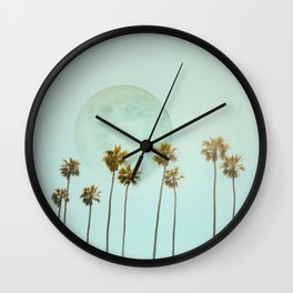 Full Moon Paradiese Beach Palm Trees Wall Clock