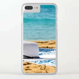 Travel Photography, White Beach Hat And Sunglasses, Summer Vacation, Holiday Time, Sea And Ocean Clear iPhone Case