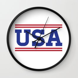 Retro USA Red White Blue Design Wall Clock