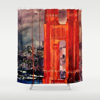 san francisco Shower Curtains featuring San Francisco by takmaj