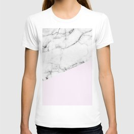 Real White Marble Half Baby Pink Modern Abstract Shapes T-shirt