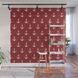 Maritime Nautical Red and White Anchor Pattern - Medium Size Anchors Wall Mural