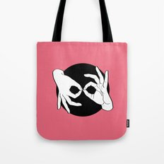 Sign Language (ASL) Interpreter – White on Black 13 Tote Bag