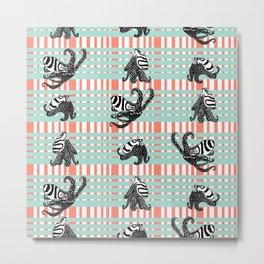 Plaid Stripe Octopus Metal Print