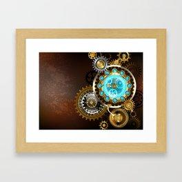 Unusual Clock with Gears ( Steampunk ) Framed Art Print