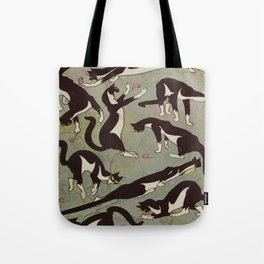 Edited magazine cover - The Lone hand - 1909 Cat Playing With Mouse Vintage Pattern Tote Bag