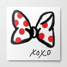 Minnie Red Polka Dot Bow Metal Print