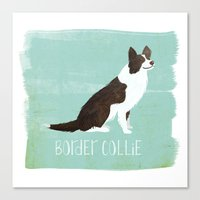 border collie Canvas Prints featuring Border Collie by 52 Dogs