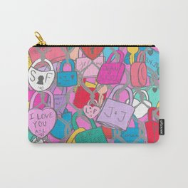 Love Locks Fence in Bright Multi Carry-All Pouch