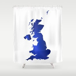 United Kingdom Map silhouette Shower Curtain