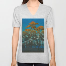 Vintage Japanese Woodblock Print Art Print Tall Sunset Trees Silhouette Twilight Forest East Asian Unisex V-Neck