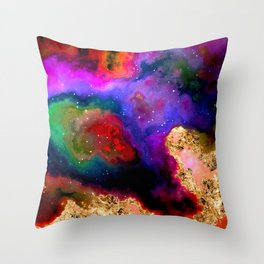 100 Starry Nebulas in Space 082 (Portrait) Throw Pillow