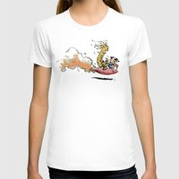 calvin hobbes T-shirts featuring Let's Go Exploring! (Rocket Raccoon & Groot & Calvin & Hobbes mashup) by Adifitri