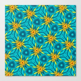 Birds of Paradise Floral Pattern \\ Unique Tropical Vibes \\ Green Yellow Blue Orange Color Scheme Canvas Print