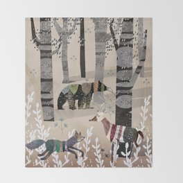 Forest in Sweater Throw Blanket
