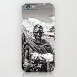 4279 Maasai Tribesman Warrior Ngorongoro Tanzania Africa iPhone Case