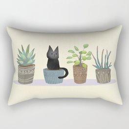 Three succulents and one kitten Rectangular Pillow