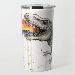 T-Rex Rainbow Puke Travel Mug