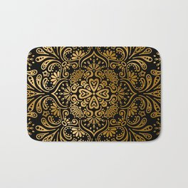Sophisticated Black and Gold Art Deco Pattern Bath Mat