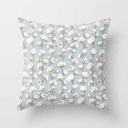 Farmhouse Cotton Stalks Throw Pillow