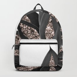 Gray Black Agave with Rose Gold Glitter #2 #shiny #tropical #decor #art #society6 Backpack