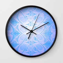 Blue and White Geometric Icy Lace Pattern Wall Clock