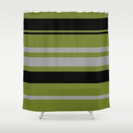 Green Gray and Black Stripes Shower Curtain